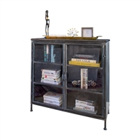 Kalalou cabinet metal glass doors distressed industrial three shelves apothecary display space