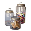 Set of Three Glass Jars with Metal Lids