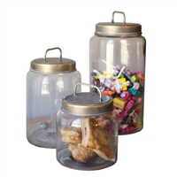Luxury Designer Set of Three Glass Jars with Metal Lids by Kalalou