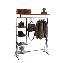 Kalalou storage unit shelves hooks wood metal scrolls industrial