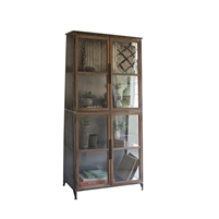 Kalalou Glass + Wood Bookcase & Display Cabinet with Wire Mesh Accents - Transitional Shelves, Slanted Design