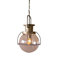 Kalalou pendant light glass globe 1-light industrial metal cage