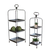 Kalalou trays silver metal galvanized tower stand trio three handle set of two tall