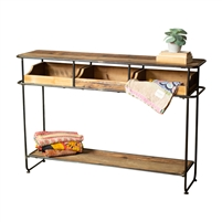 recycled wood black metal frame console table 3 drawers lower shelf