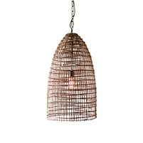 dome pendant light woven cane one-bulb