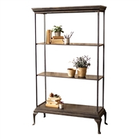 four-tiered shelf unit distressed black metal traditional
