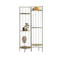 standing tall shelf display unit hinged metal wood adjustable