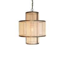 pendant light double layer woven fiber rustic metal