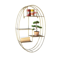 oval metal frame brass finish hanging wall shelf staggered
