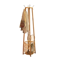 tall standing rattan coat rack umbrella basket