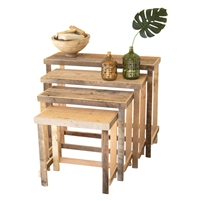 rustic recycled wood nesting console display tables set 4