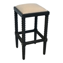 square counter stool cream cushioned seat dark base