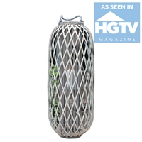Kalalou lantern woven gray willow glass candle rope handle oval tall