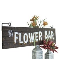 Kalalou flower bar sign wood rustic planked white yellow lettering