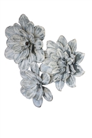 3 metal whitewashed flowers