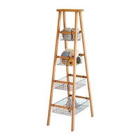 wire basket wooden display ladder