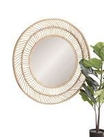 wall mirror bamboo frame round
