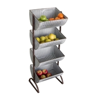 Kalalou Four Tiered Perforated Metal Display Tower - Farmhouse Décor