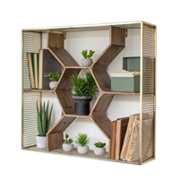 Luxury Designer Wooden Honeycomb Shelf w/ Metal Mesh Frame by Kalalou