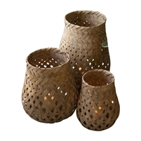 set 3 bamboo natural bell-shaped lanterns