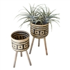 black natural woven bamboo plant stands
