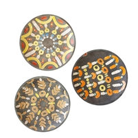 set 3 round platters hand-painted black orange white yellow