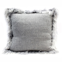 light gray accent pillow ivory alpaca woven fur trim