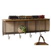 Large Wire Mesh Four Horizontal Cubbies with Wooden Top