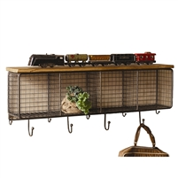 Large Wire Mesh Four Horizontal Cubbies with Wooden Top by Kalalou