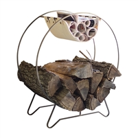 round metal fireplace storage rack canvas sling