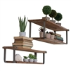 Kalalou pair wood metal shelves brackets rustic farmhouse planks
