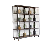 Kalalou display unit shelves cubes 16 wire mesh honey wood slats casters metal