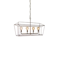 Kalalou pendant rectangle long metal cage black 4-light industrial