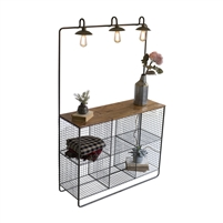 wood shelf unit wire mesh cubbies overhead lighting