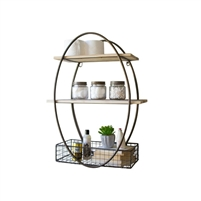 tall metal framed wall unit oval recycled wood shelves