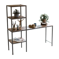 workstation desk four shelves recycled wood iron