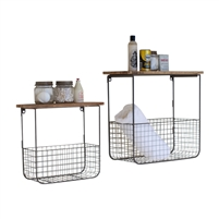 set 2 wire mesh baskets wood tops wood shelf