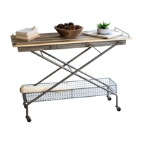 console table recycled wood top lower wire mesh basket x-frame casters
