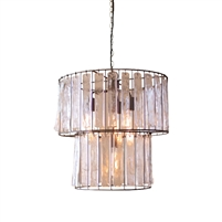 round two-tier pendant ceiling light glass chimes rectangles