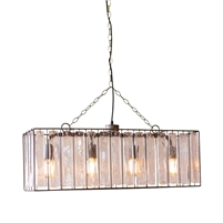rectangle ceiling light pendant chandelier glass chimes 4-light