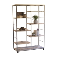 recycled wood iron frame adjustable shelves unit casters