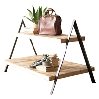 rustic recycled wood metal a-frame two-tiered display table