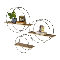 round metal framed wall shelves recycled wood transitional round