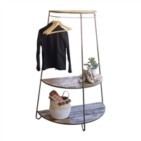 demi lune display shelf recycled wood metal hanging rail