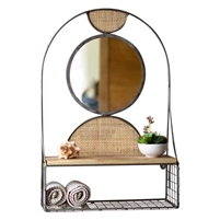 round wall mirror metal frame arched wood shelf wire