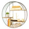 hanging wall shelf unit staggered recycled wood wire mesh round