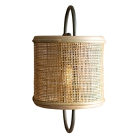 wall light lamp sconce metal fabric-covered rattan shade shelf