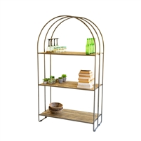 tall recycled wood shelf display unit arched metal