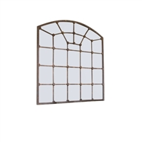 Kalalou mirror iron arched panes rust distressed rustic