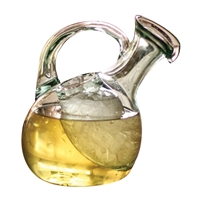 recycled green glass tilted white wine decanter ice pocket